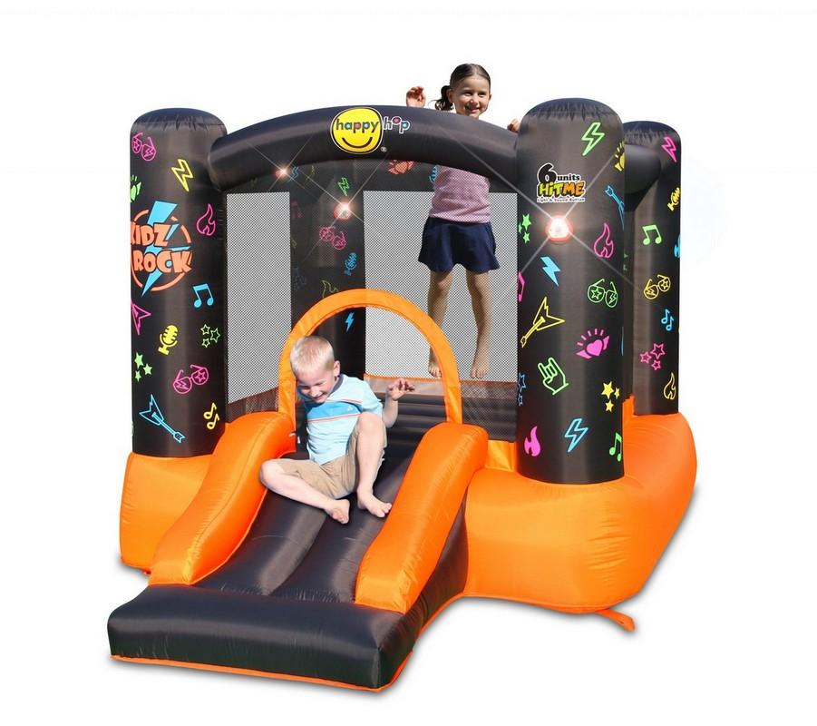 Детский надувной Батут Happy Hop с горкой Рок-н-ролл 8003