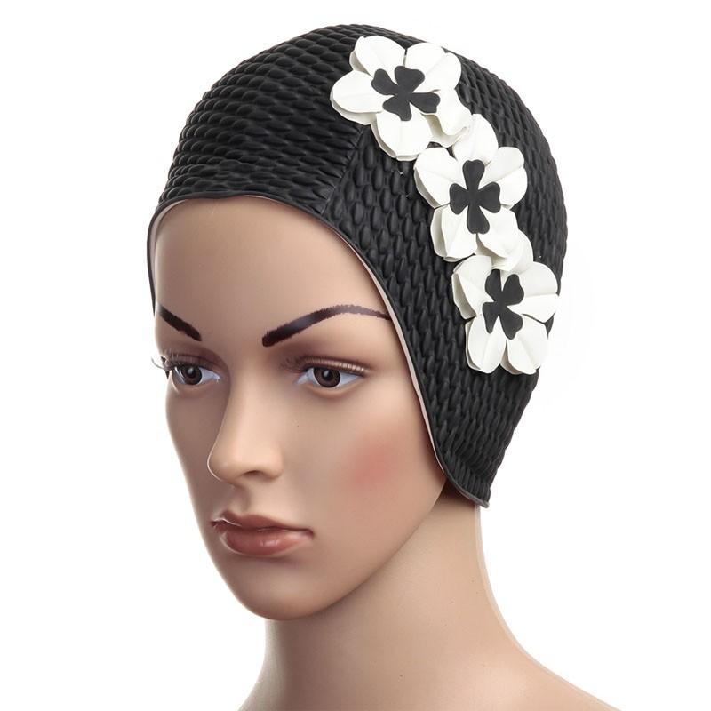 Купить Шапочка для плавания Fashy Babble Cap with Flowers женская 3119-20 резина, черно-белая,