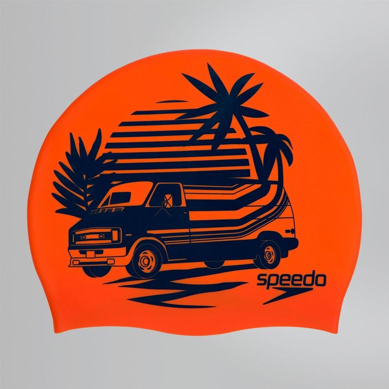 Купить Шапочка для плавания Speedo Slogan Print Cap 8-08385C859 оранжевыйголубой,
