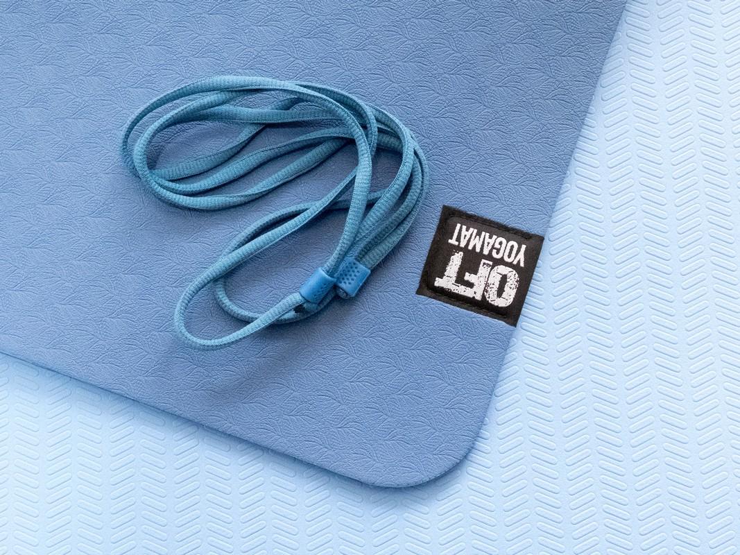 Мат для йоги Original Fit.Tools FT-YGM6-2LT-DKBLUE-BK темно-синий светло-синий