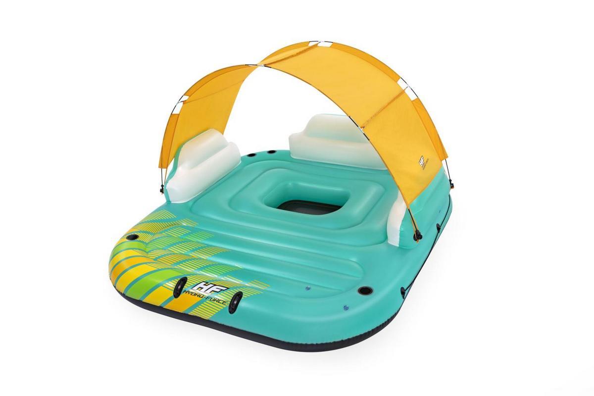 Купить Надувной матрас-остров 300х275см Sunny Lounge с навесом, ручками и подстаканниками, до 450кг Bestway 43407,