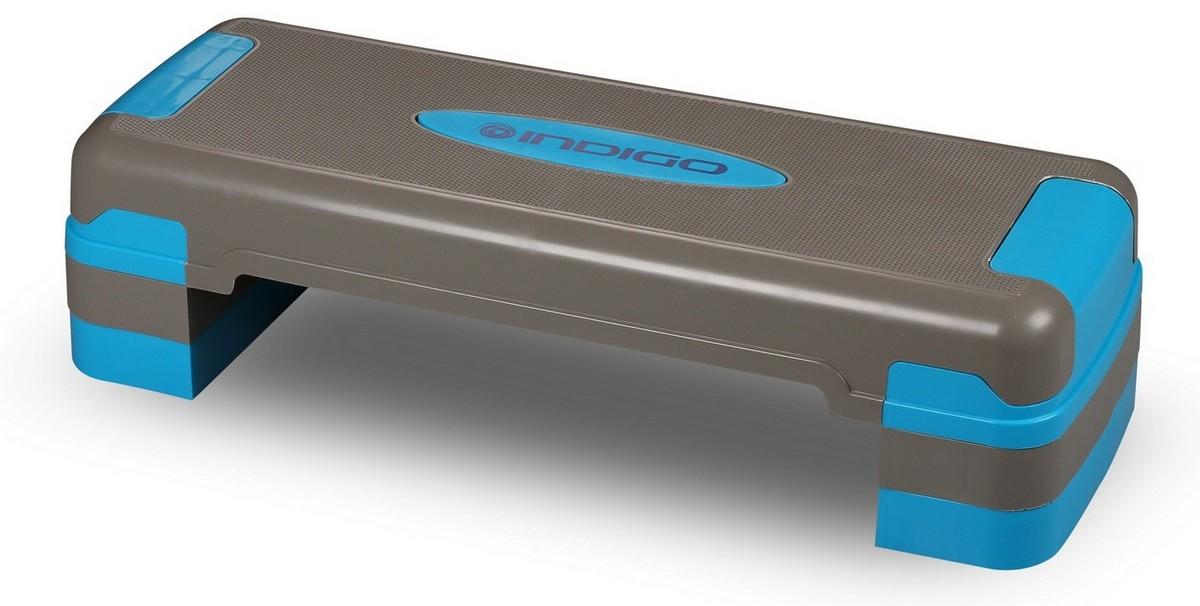 Степ-платформа для аэробики 3 уровня Indigo серо-синий.