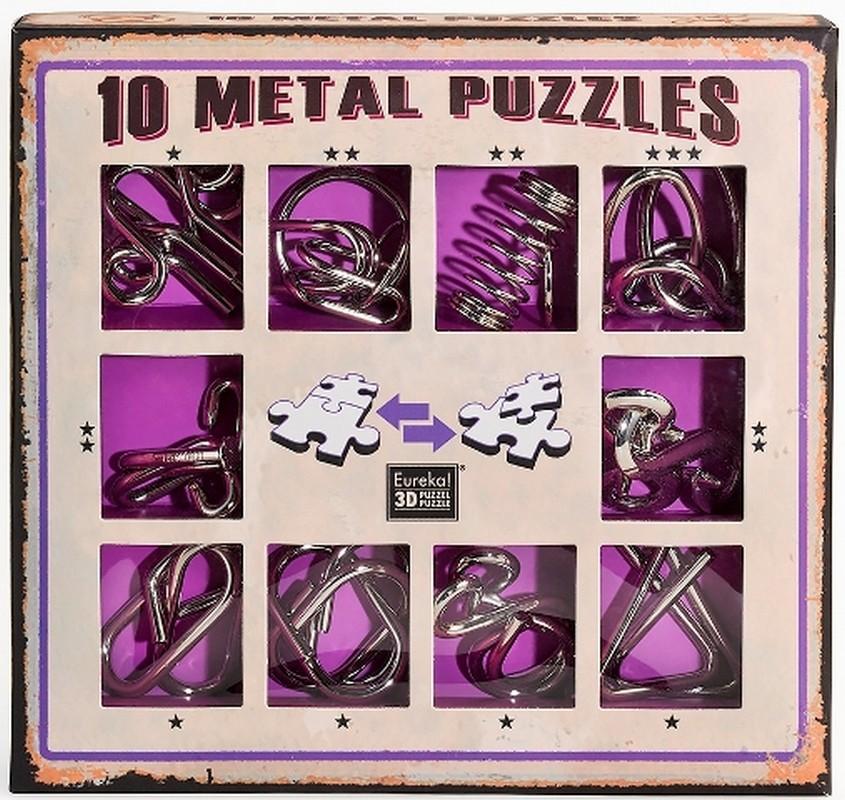 Набор из 10 металлических головоломок (фиолетовый) 10 Metal Puzzles purple set NoBrand
