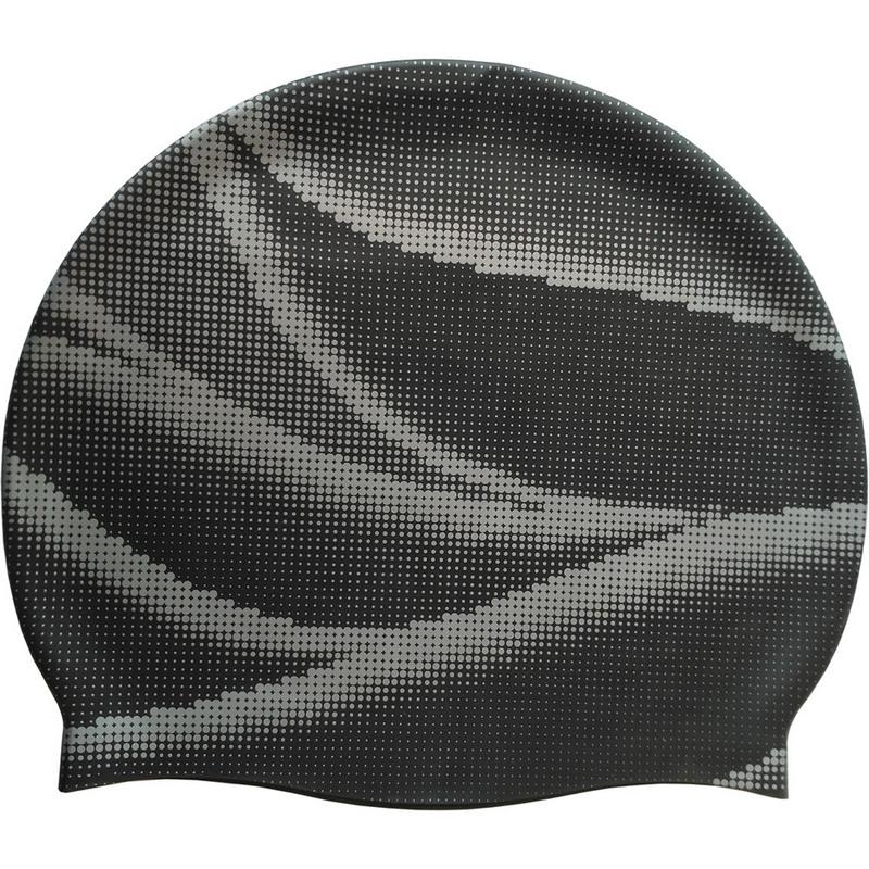 Шапочка силиконовая SR черная с серебряным принтом волны SRSC-4-B2 фото