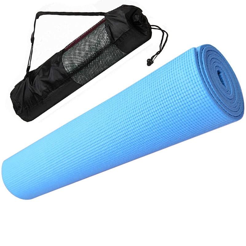 Купить Коврик для йоги ПВХ 173х61х0,4 см с чехлом E29258 голубой, NoBrand