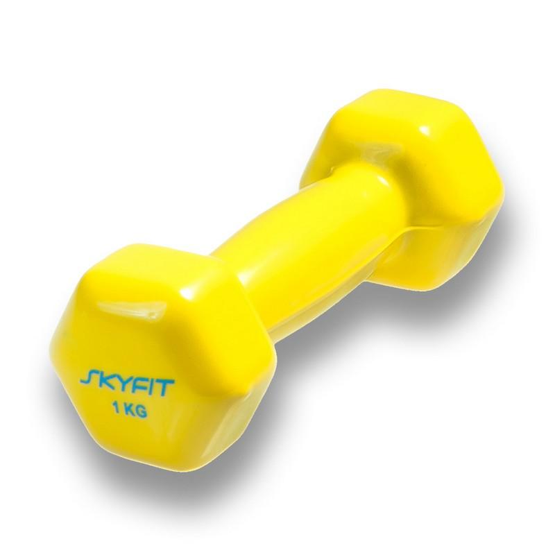 Купить Гантель в виниловой оболочке 1 кг SkyFit SF-VD-1K желтый (продаются только парой),