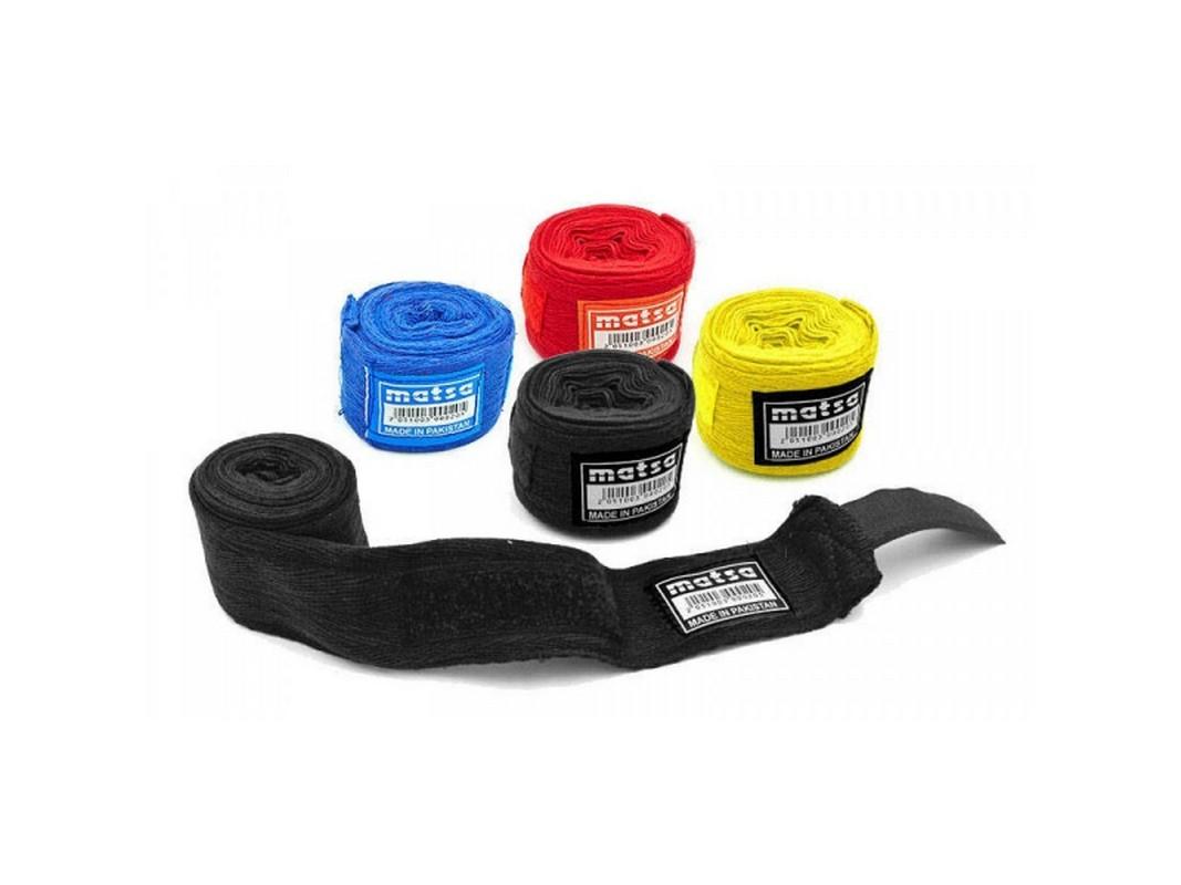 Бинты боксерские Matsa 3,5м хлопок черный