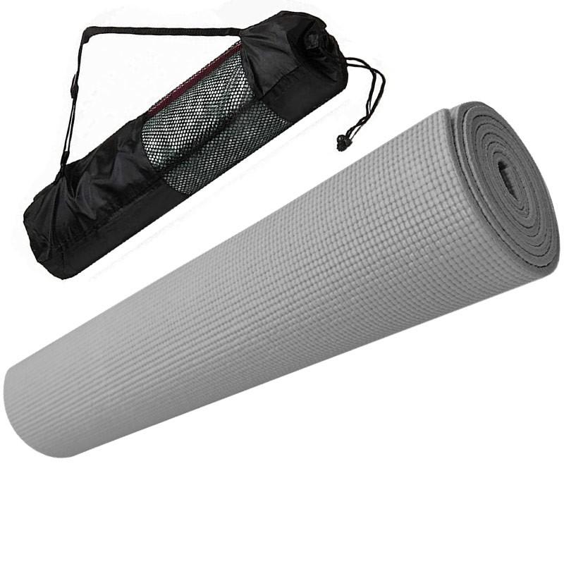 Купить Коврик для йоги ПВХ 173х61х0,4 см с чехлом E29256 серый, NoBrand