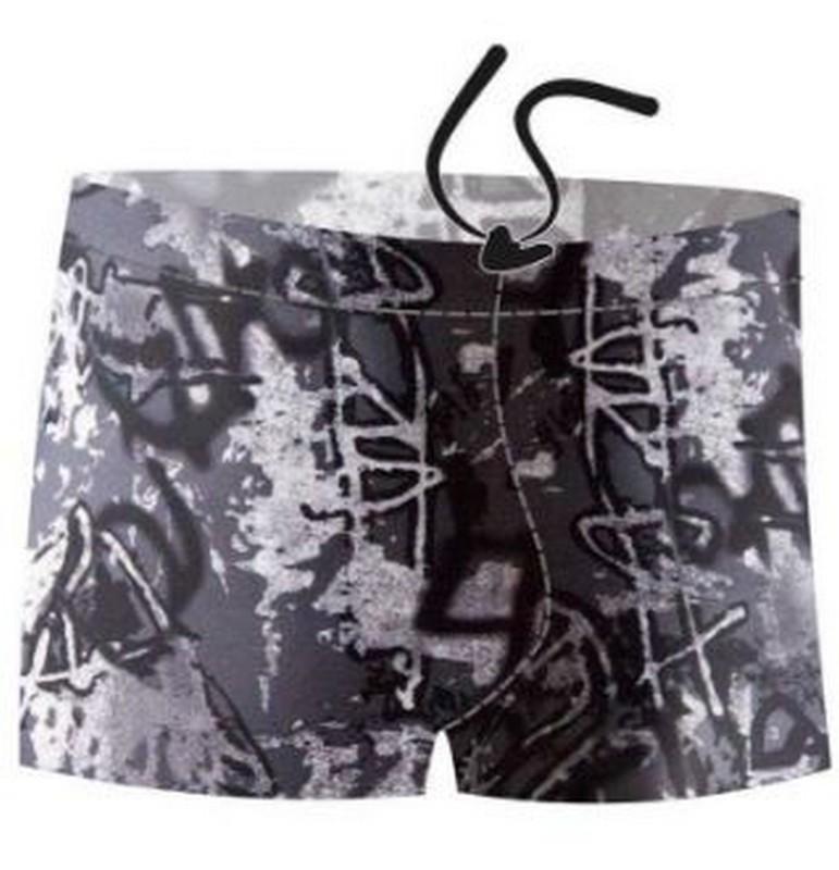 Купить Плавки-шорты Atemi М2 17 мужские для бассейна, принт, черный/серый,