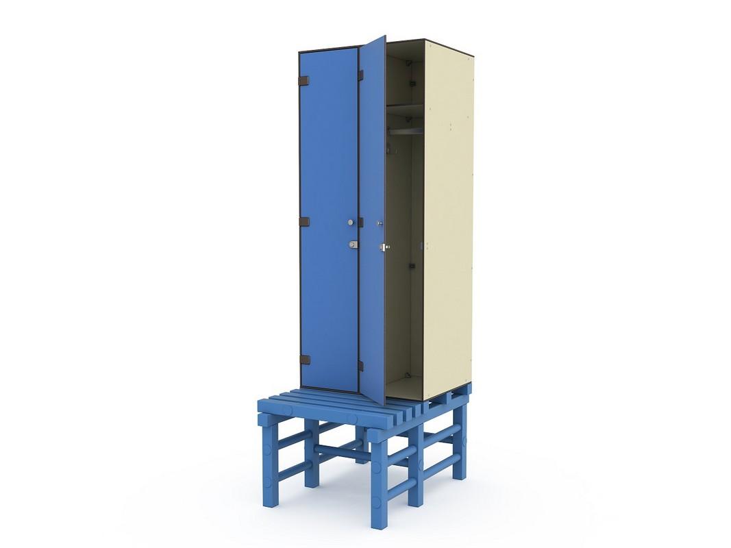 Шкаф ПТК Спорт СТ 2-1 на скамье-подставке (2 ячейки)