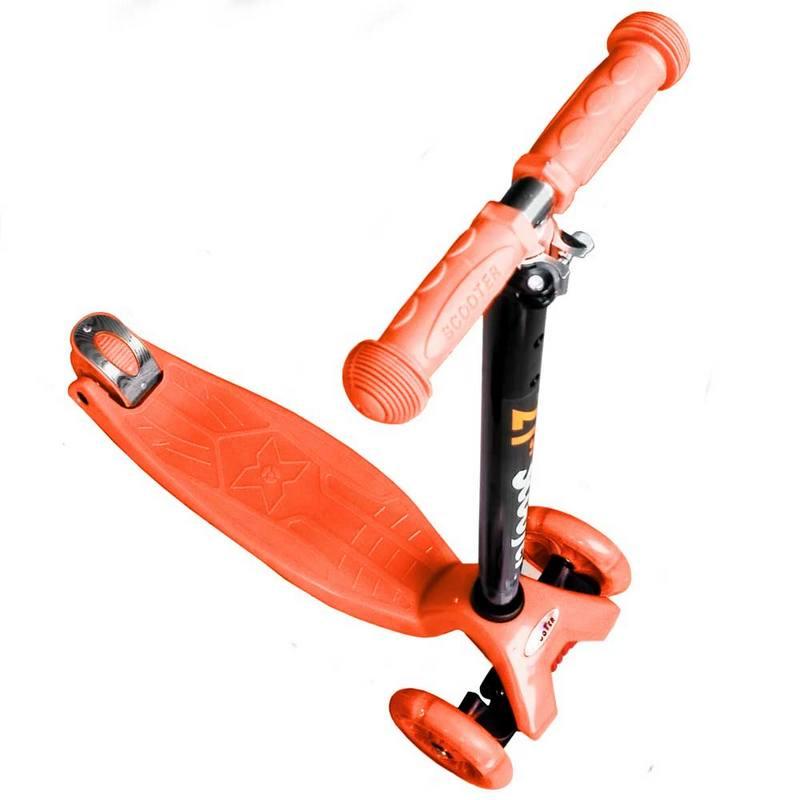 Купить Самокат 3-х колесный Scooter светящиеся колеса F18404 оранжевый,
