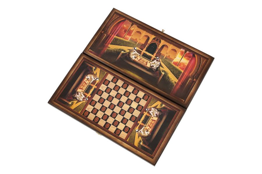 Купить Нарды + Шашки Сирия Шейхи малые (Россия, дерево, 40х20х4 см), NoBrand, Шахматы, шашки, нарды