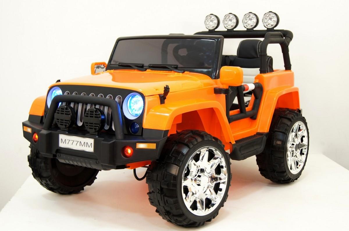 Купить Электромобиль River-Toys Jeep M777MM 4x4 оранжевый, Детские электромобили