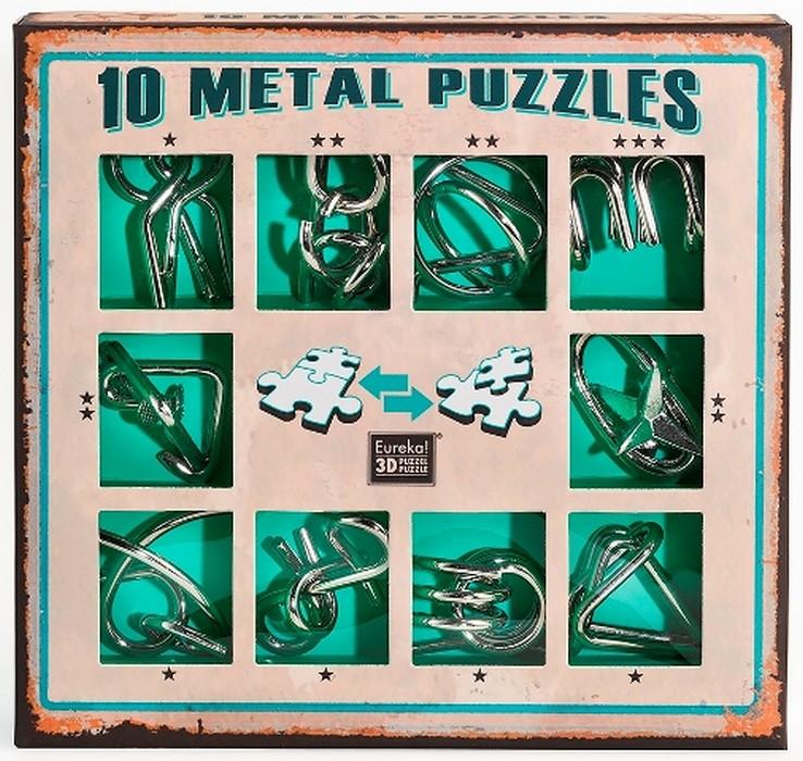 Купить Набор из 10 металлических головоломок (зеленый) 10 Metal Puzzles green set, NoBrand, Настольные игры