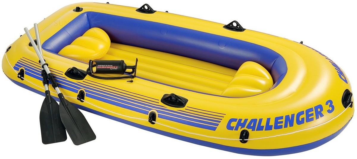 Надувная лодка Challenger 3 Set 295x137x43 см Intex аллюминиевые вёсла, ручной насос 68370