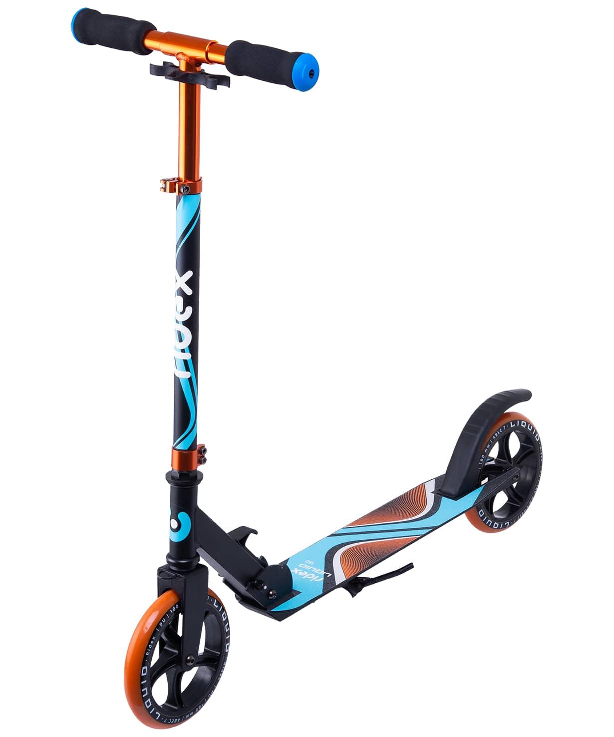 Купить Самокат 2-колесный Ridex Liquid d180 мм, черныйоранжевый,