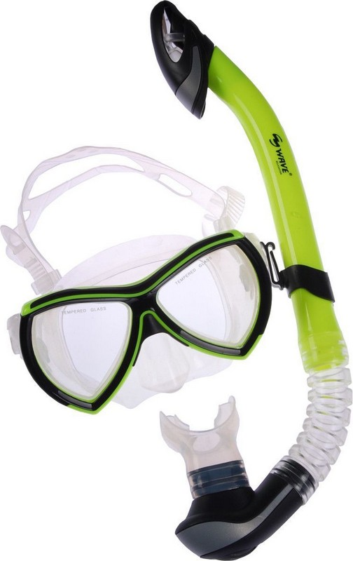 Набор для плавания Wave Diving Mask and Snorkel Set PVC Green MS-1319S6,  - купить со скидкой