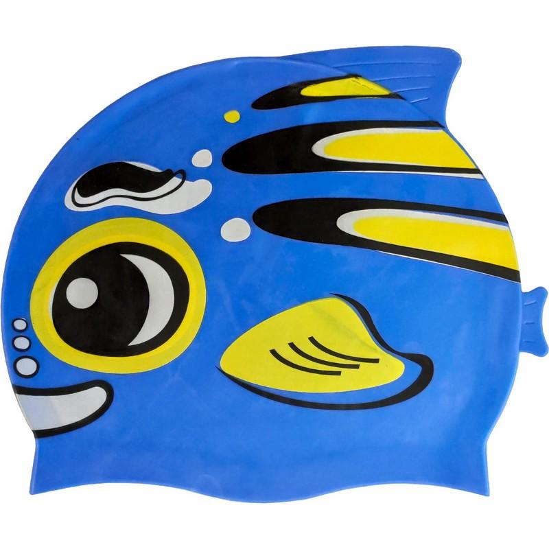 Купить Шапочка для плавания B31573 детская силикон (синяя Рыбка), NoBrand