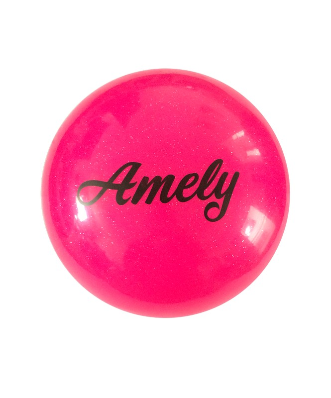 Купить Мяч для художественной гимнастики Amely AGB-102 D=15 см, розовый, с блестками,