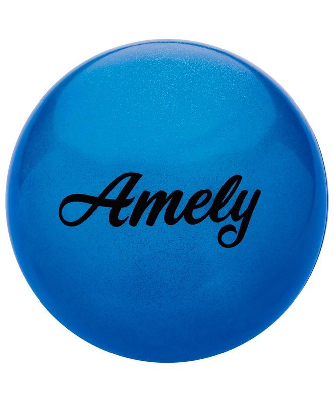 Купить Мяч для художественной гимнастики Amely d19см AGB-102 синий, с блестками,