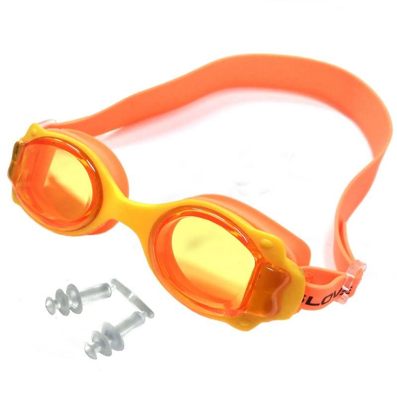 Купить Очки для плавания JR R18164-3 желто-оранжевые, NoBrand