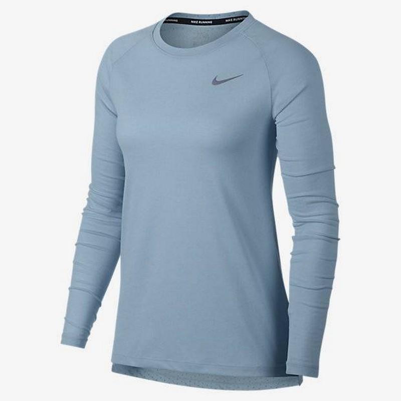 Лонгслив женский Nike Brthe Tailwind Top 890200-452 голубой футболка беговая nike dri fit cool tailwind stripe short sleeve top