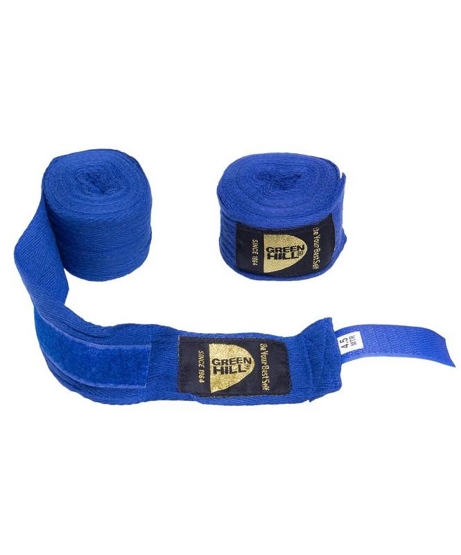 Купить Бинт боксерский Green Hill BC-6235d, хлопок, 4,5 м, синий,