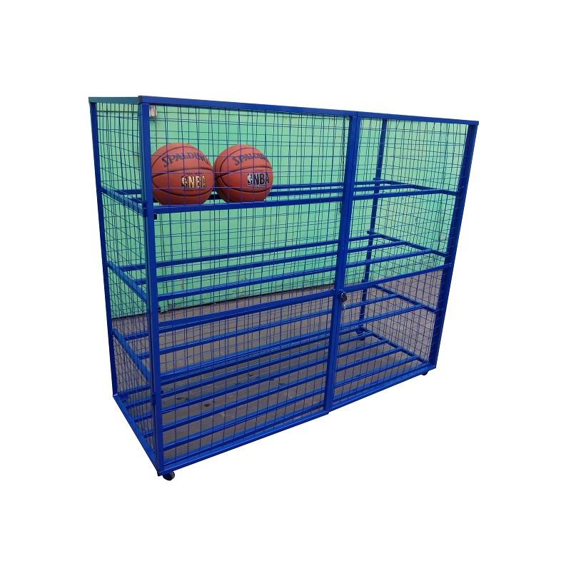 Купить Стеллаж для хранения мячей и инвентаря Spektr Sport передвижной металлический (сетка) цельносварной,