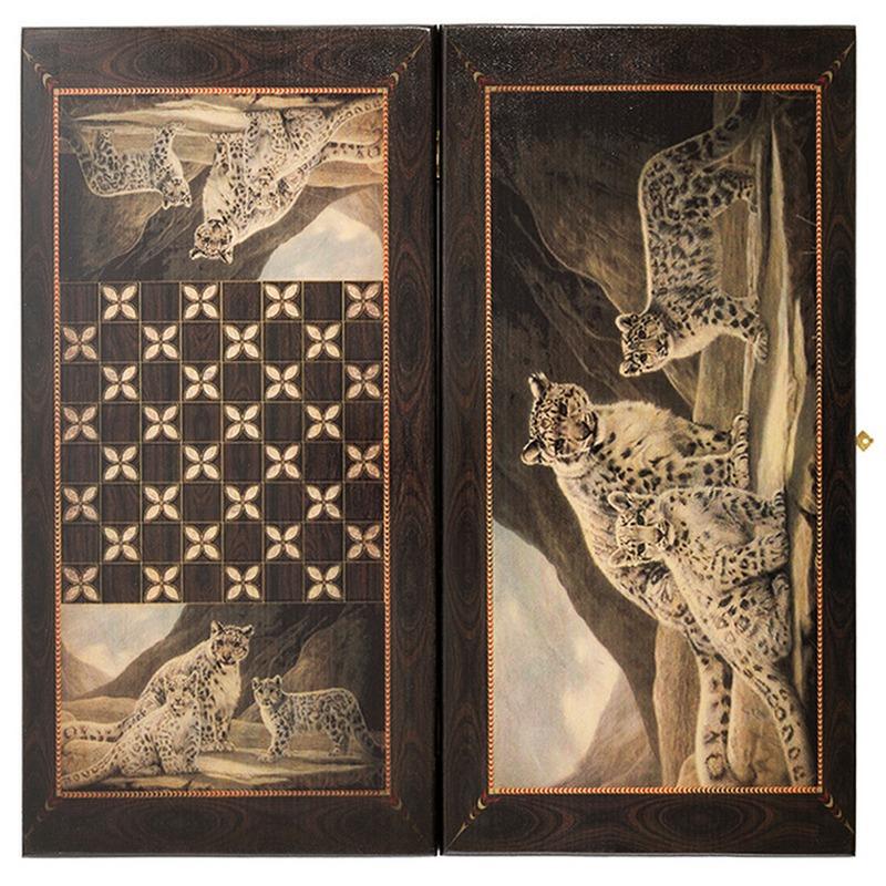 Купить Нарды + шашки Смоленские Семейство леопардов большие smsleo60, NoBrand, Шахматы, шашки, нарды