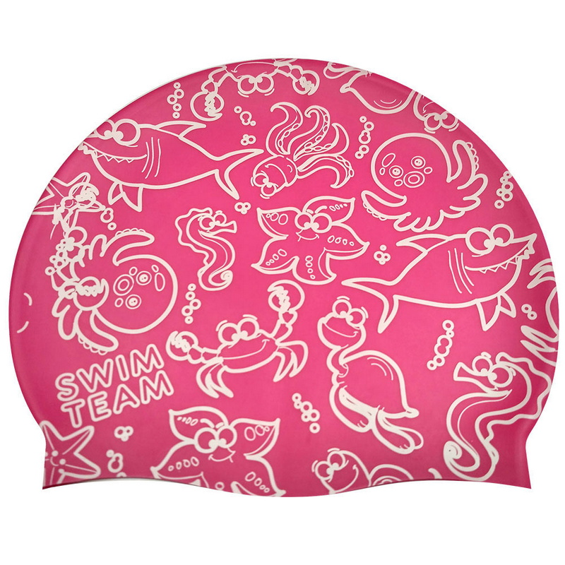 Купить Шапочка для плавания JR Розовая с Белым принтом SwimTeam KSC-38-A, NoBrand