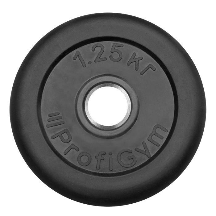 Купить Диск обрезиненный ProfiGym D=31 мм чёрный 1,25 кг ДТР-1,25/51,