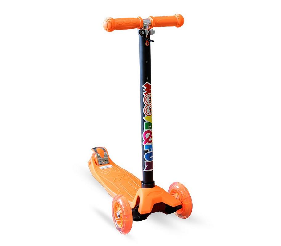 Самокат четырехколесный Moove Fun Maxi Led, оранжевый самокат четырехколесный телескопическая ручка moove fun sa 100a mvf