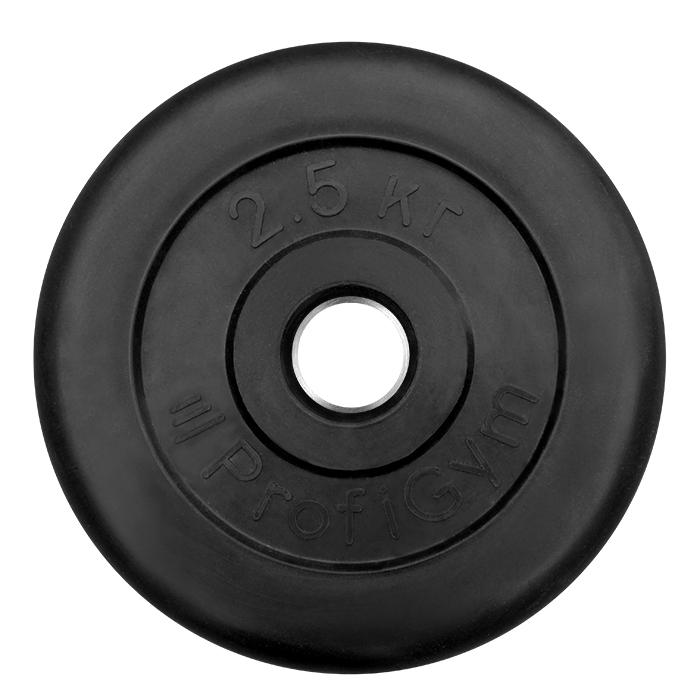 Купить Диск обрезиненный ProfiGym D=26 мм чёрный 2,5 кг ДТР-2,5/51,
