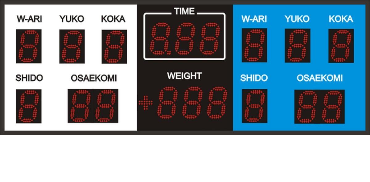 Табло для дзюдо 1500х550х90мм табло для футбола 1500х650х90мм