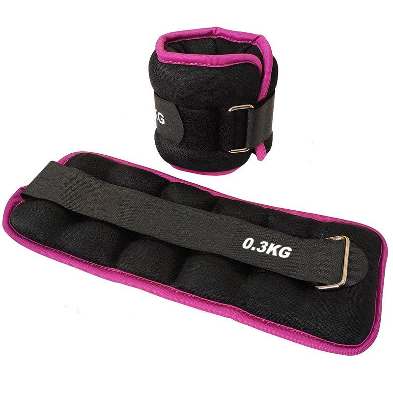 Утяжелители (2х0,3кг) (нейлон) в сумке (черный с розовой окантовкой) ALT Sport HKAW103-4 фото