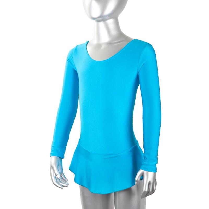 Купальник гимнастический с юбкой ComboSport длинный рукав лайкра бирюзовый GO-025
