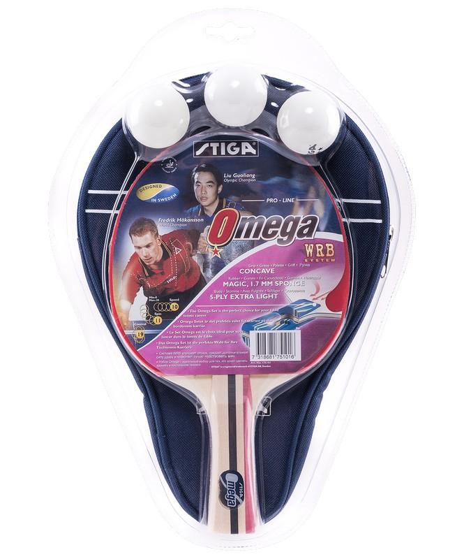 Набор для настольного тенниса Stiga Omega WRB, ракетка + 3 мяча + чехол ракетка для настольного тенниса torres sport 1 tt0005