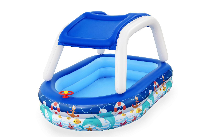 Купить Детский надувной бассейн Bestway 213х155х132см Морской капитан с навесом, 282л, от 3 лет 54370,
