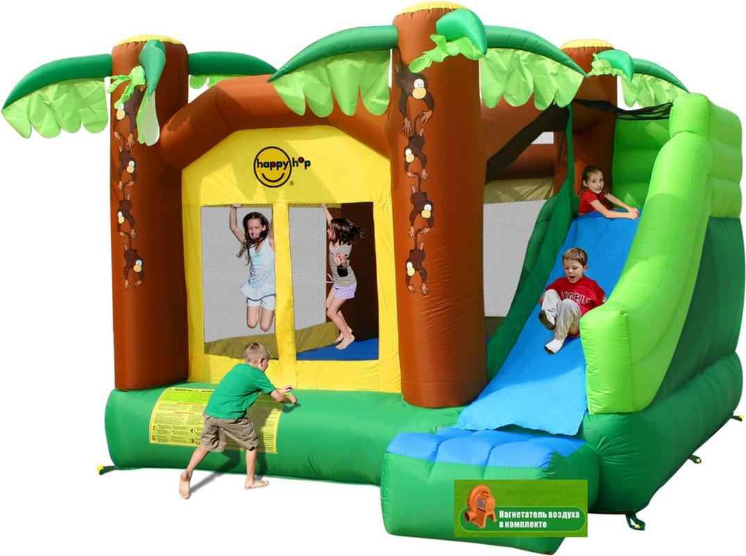 Детский надувной батут с горкой Happy Hop Джунгли 9164