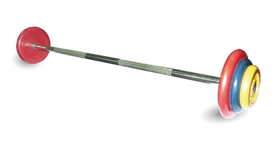 Купить Штанга неразборная MB Barbell с цветными дисками D25мм, 17,5 кг MB-BarMW-C17,5,