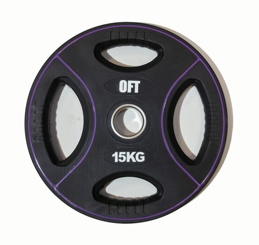 Диск для штанги олимпийский Original Fit.Tools полиуретановый 15 кг FT-DPU-15