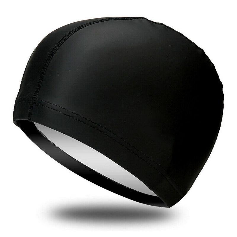 Купить Шапочка для плавания одноцветная B31516-8 (Черный), NoBrand