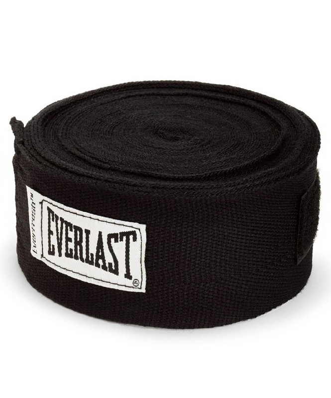 Купить Бинт боксерский Everlast 4465BK, 2,5м, х/б, черный,