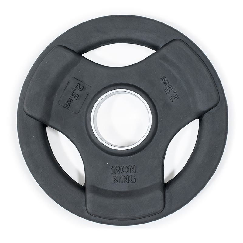 Купить Диск обрезиненный 3-мя хватами Iron King черный D50 мм 2,5 кг,