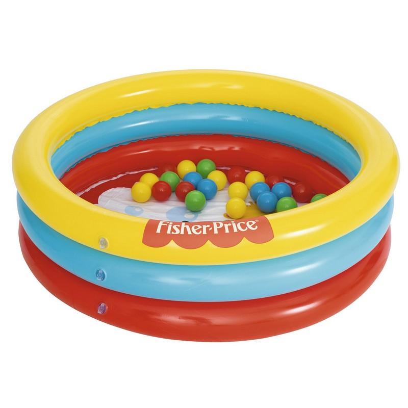 Купить Бассейн надувной Bestway Fisher Price 91x91х25 см 93501 (25 шариков), Детские надувные бассейны