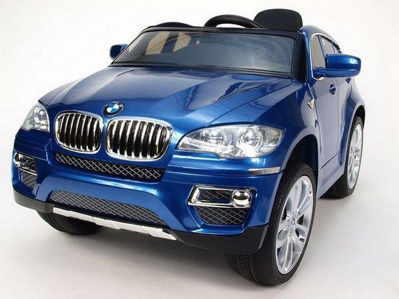 Электромобиль River-Toys BMW X6 (лицензия) синий глянец с ДУ