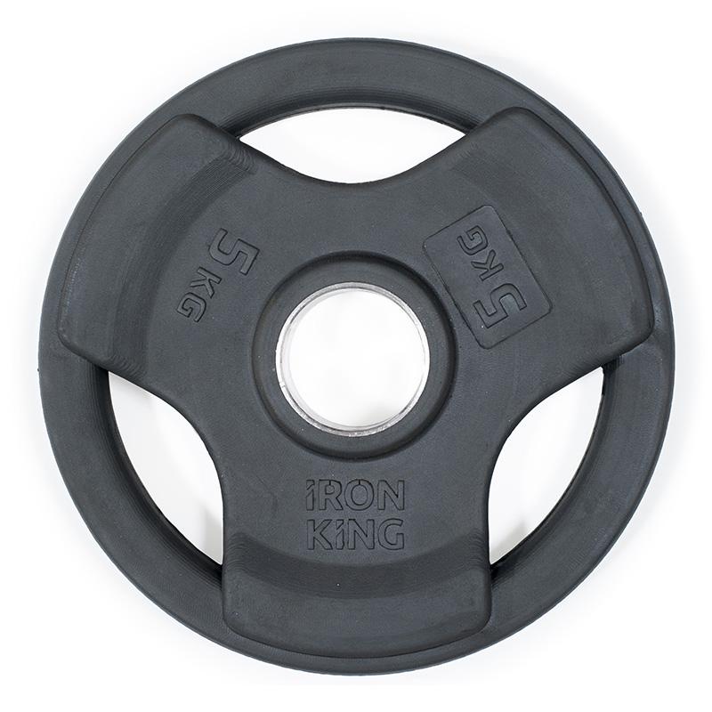 Купить Диск обрезиненный 3-мя хватами Iron King черный D50 мм 5 кг,