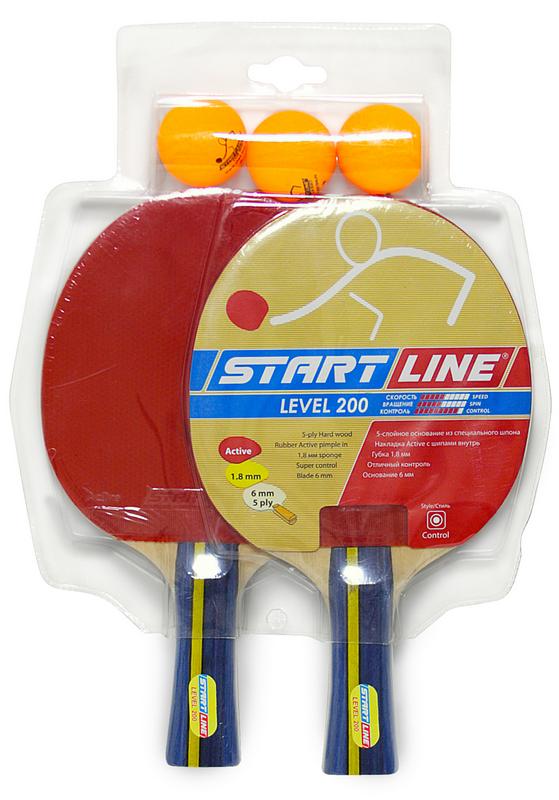 Купить Уценка Набор для настольного тенниса Start line Level 200 2 ракетки 3 мяча, Line
