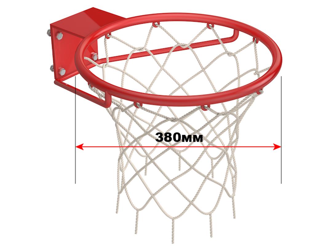 Купить Кольцо баскетбольное стальное D=380 мм с сеткой Glav 01.305,