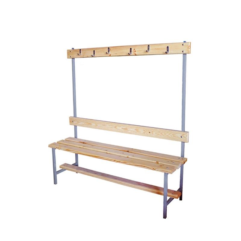 Скамейка для раздевалки с вешалкой 1200 мм сиденье из дерева Dinamika ZSO-002190,  - купить со скидкой